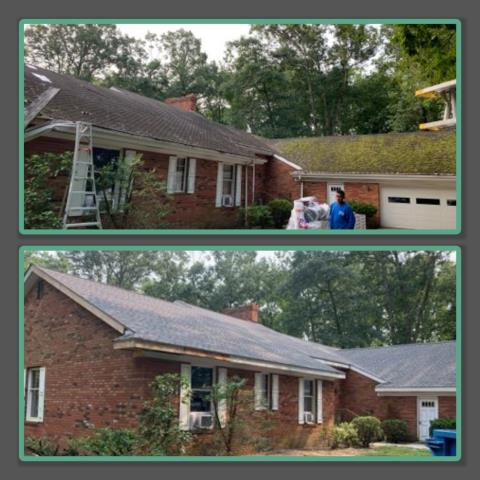 Glassboro, NJ - Before and after of this roof replacement with fascia repair using GAF Timberline HDZ shingles in Williamsburg Slate.