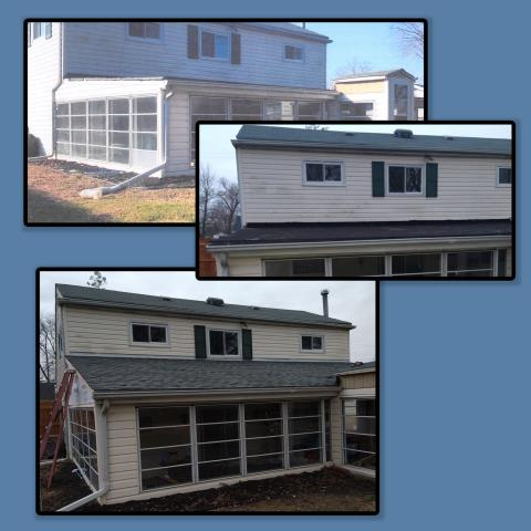 Mantua Township, NJ - We were called about an ongoing roof leak at the back porch. We built the roof up, changing it from a low slope roof to a shingled roof. We used GAF Timberline HDZ shingle in Slate to complete this roof project.