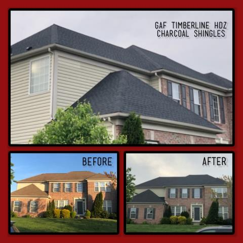 Mullica Hill, NJ - Dramatic change to this home doing a roof replacement using GAF Timberline HDZ shingles in Charcoal.