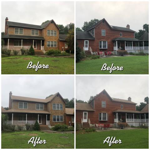 Waterford, NJ - Before and after roof installation using GAF Timberline Shakewood shingles.