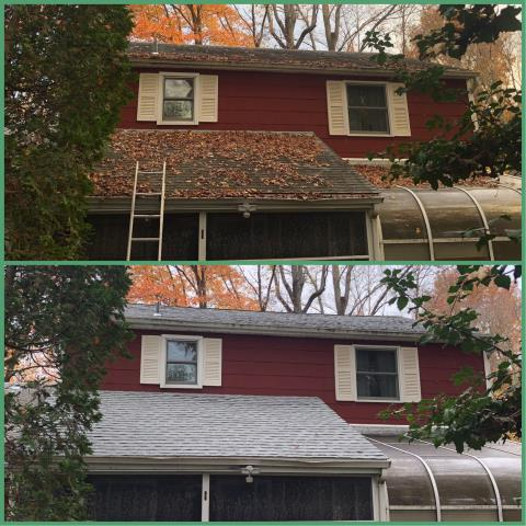 Woodbury Heights, NJ - Before and after pictures of completed roof installations using GAF Timberline Fox Hollow Gray shingles.