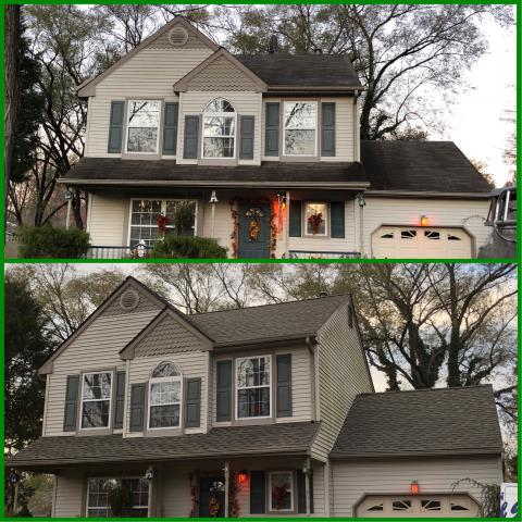 Gloucester Township, NJ - Before and after pictures of completed roof installations using GAF Timberline Weathered Wood Blend shingles.