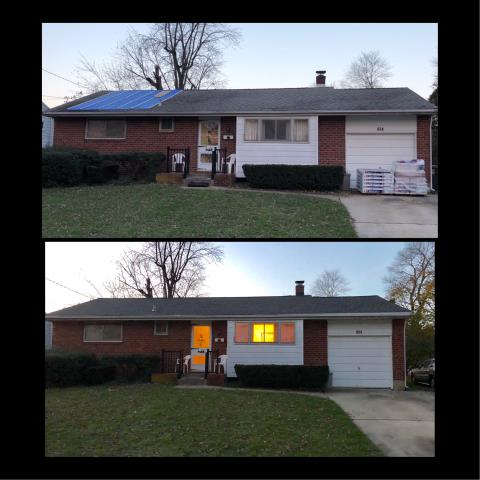 Mantua Township, NJ - Before and after pictures of completed roof installation using GAF Timberline Williamsburg Slate shingles.