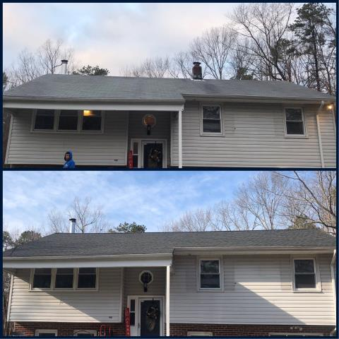 Buena Vista Township, NJ - Before and after of complete roof installation using GAF Timberline Charcoal shingles.