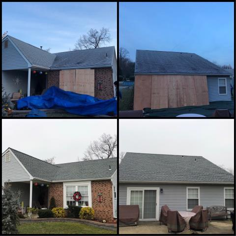 Deptford Township, NJ - Before and after pictures of complete roof installation using GAF Timberline Slate shingles.