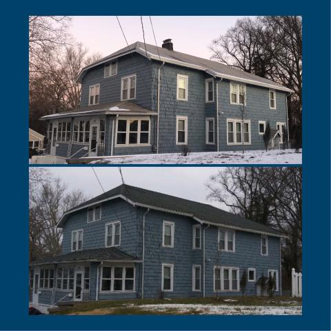 Swedesboro, NJ - Before and after pictures of a complete new roof installation using GAF Timberline Slate shingles.