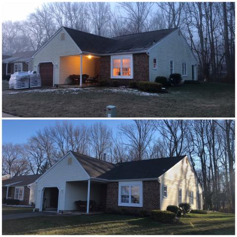 Deptford Township, NJ - Before and after pictures of a complete roof installation using GAF Timberline roof system with Barkwood shingles.