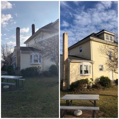 Gibbstown, NJ - Complete roof installation including a main chimney removal. Project completed using GAF Timberline system with Charcoal shingles.