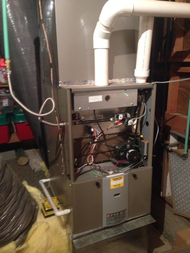 Placerville, CA - Rejuvenation on York heater furnace. Water leak from flue pipe. Sensor bad.