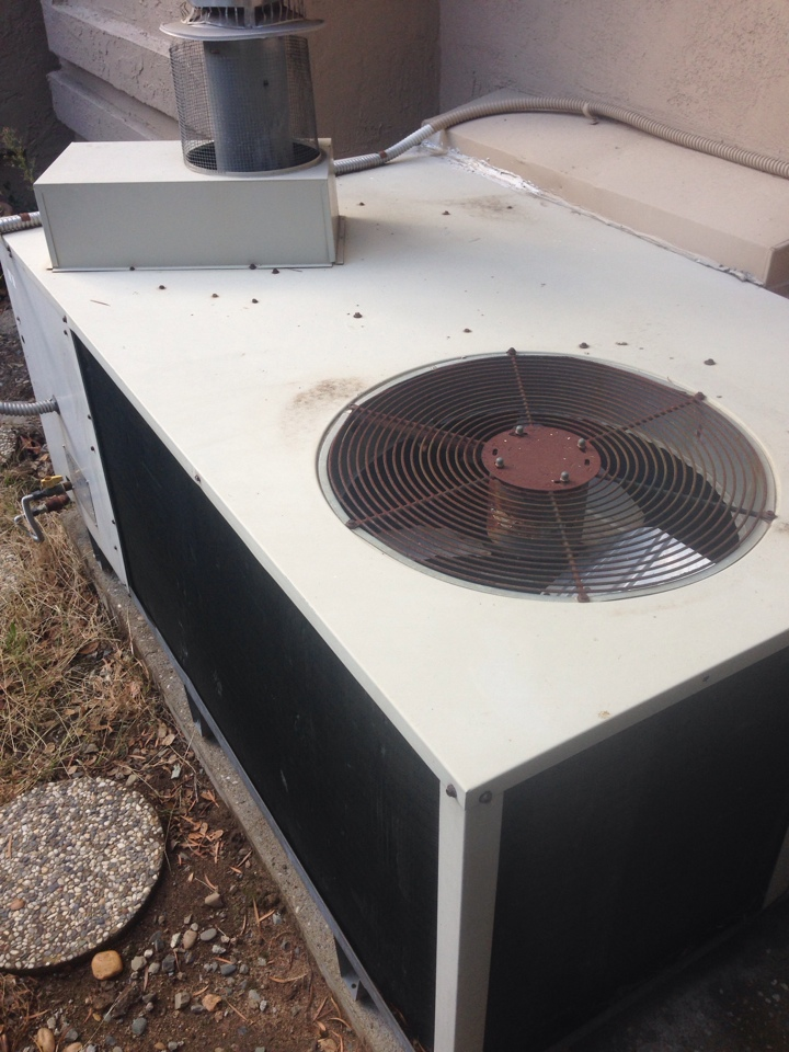 Folsom, CA - Package unit on ground diagnostic no heat. Clean pilot on carrier 1988 equipment.