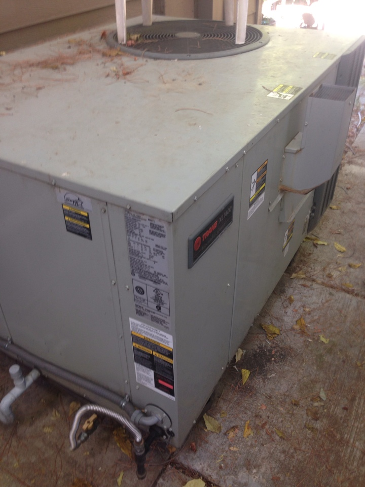 Folsom, CA - Trane package unit on ground maintenance and blower repair.