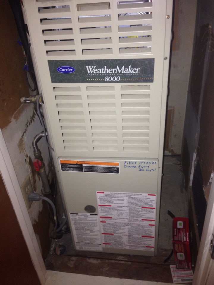 Rancho Cordova, CA - Furnace maintenance on carrier closet unit.