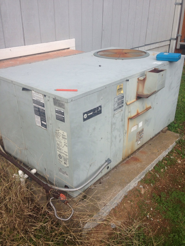 Cameron Park, CA - Repair vs replace. Trane package unit on ground.