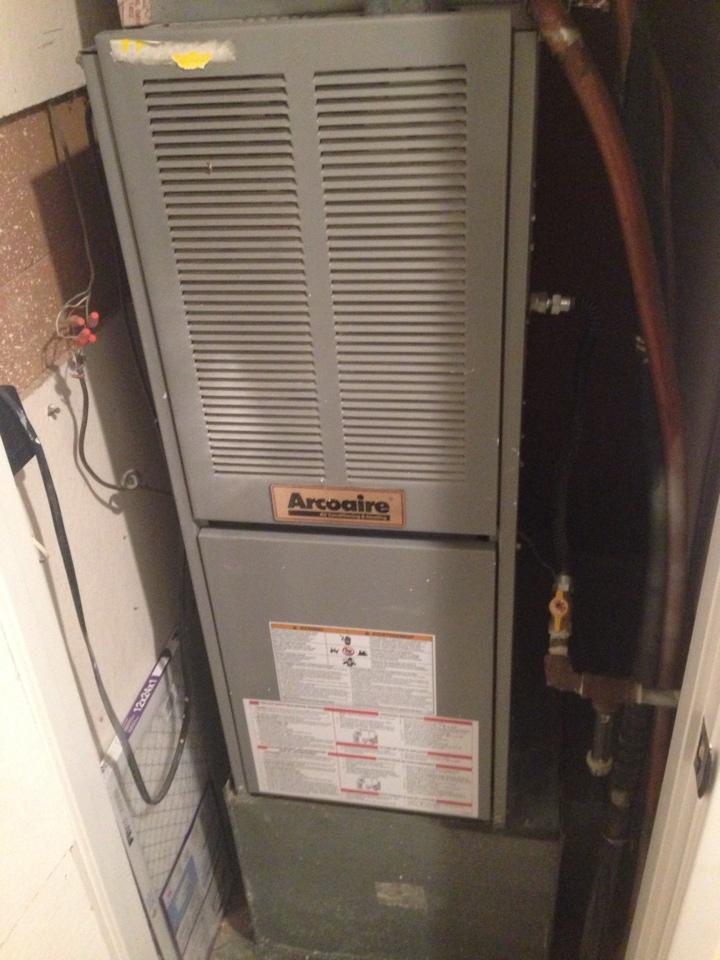 Citrus Heights, CA - Arcoaire furnace repair gas valve. Clean blower