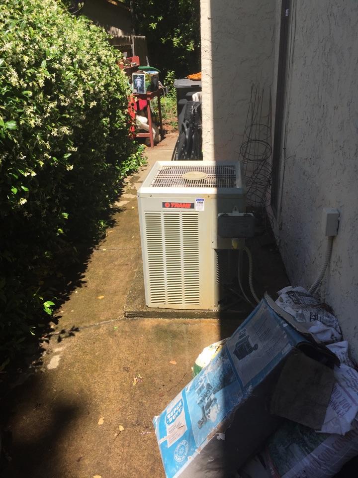 Rancho Cordova, CA - Ac maintenance on Trane equipment.