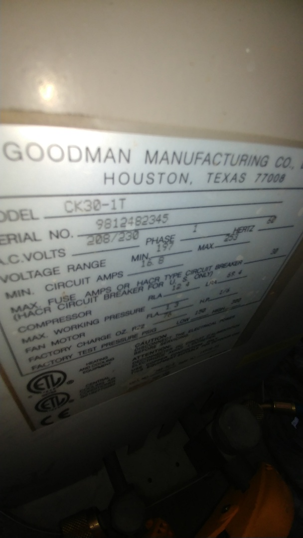 Lincoln, CA - I'm working on a 19 yrs. Old Goodman A/C located in Citrus Heights, Ca