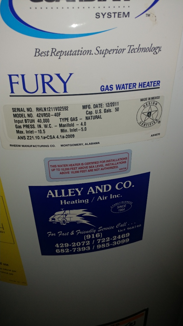 Carmichael, CA - I'm working on a 6 yr. Old Rheem gas water heater located in Carmichael, Ca