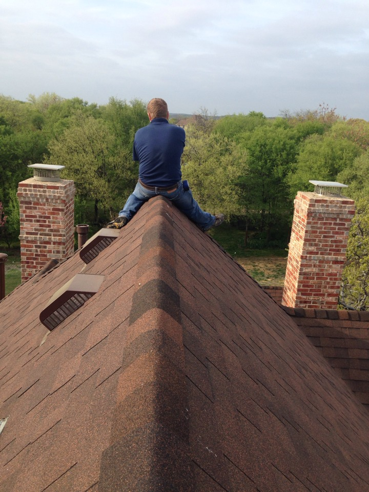 Cross Roads, TX - Getting chimney cap measurements