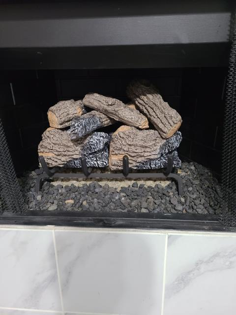 The Colony, TX - Gas Log Install - Charred Oak