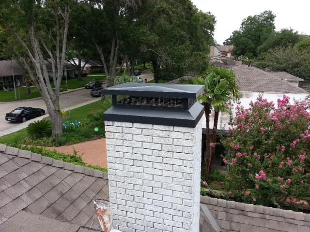 Dallas, TX - Mortar Crown Overlay/#1 Style Chimney Cap in Matte Black