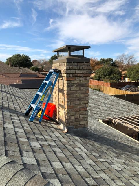 Carrollton, TX - Exterior Tuck Point/Mortar Crown Repair/#1 Style Chimney Cap