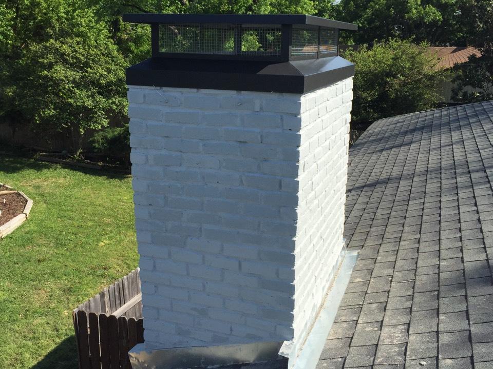 Carrollton, TX - Rebuild chimney and custom chimney cap.