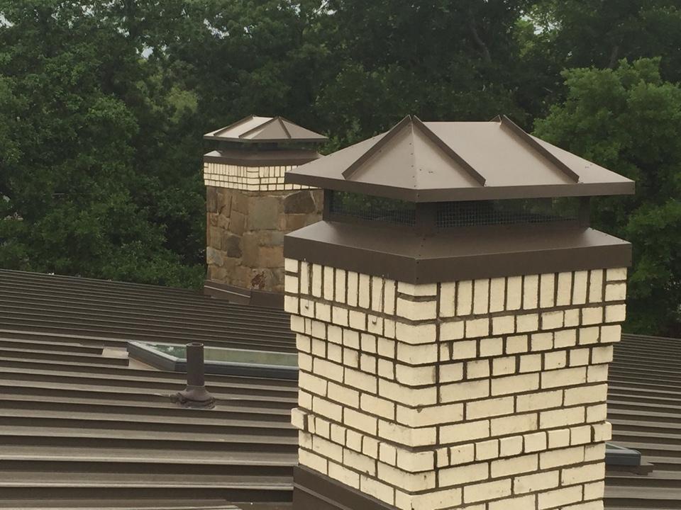 Dallas, TX - Chimney sweep and new custom chimney caps.