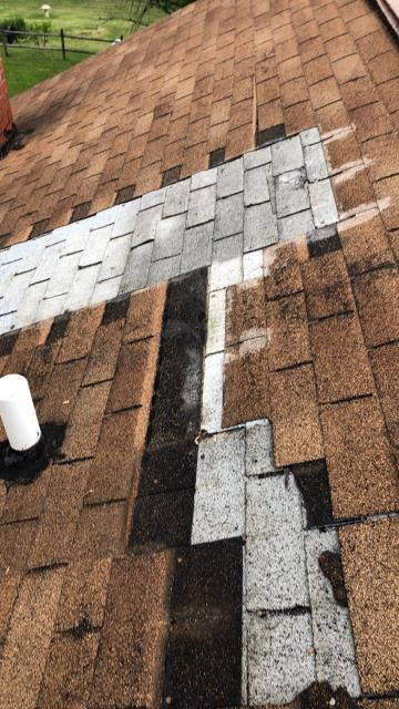Candler, NC - Is your roof leaking and you're afraid of the cost to fix it?  Our team is tearing off this old roof today in Candler, NC and installing a brand new GAF Golden Pledge roof .  We have a number of payment options available, call our office today for more details 828-628-0390.