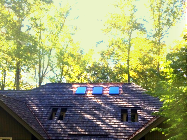 Linville, NC - Replaced 3 Velux skylights in a beautiful mountain home on cedar shake roof!