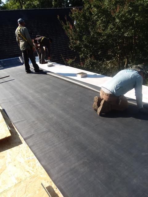Asheville, NC - Completed this new EPDM rubber roof in Biltmore Park on a newly constructed low-slope porch roof