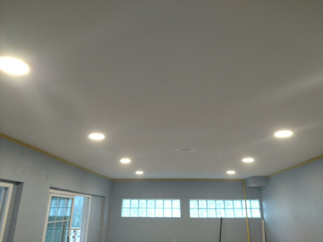 Nokomis, FL - Location: Nokomis Description: installed 8 LED recess cans in den area with a dimmer switch. Also relocated outlets and switches to accommodate new door going in.