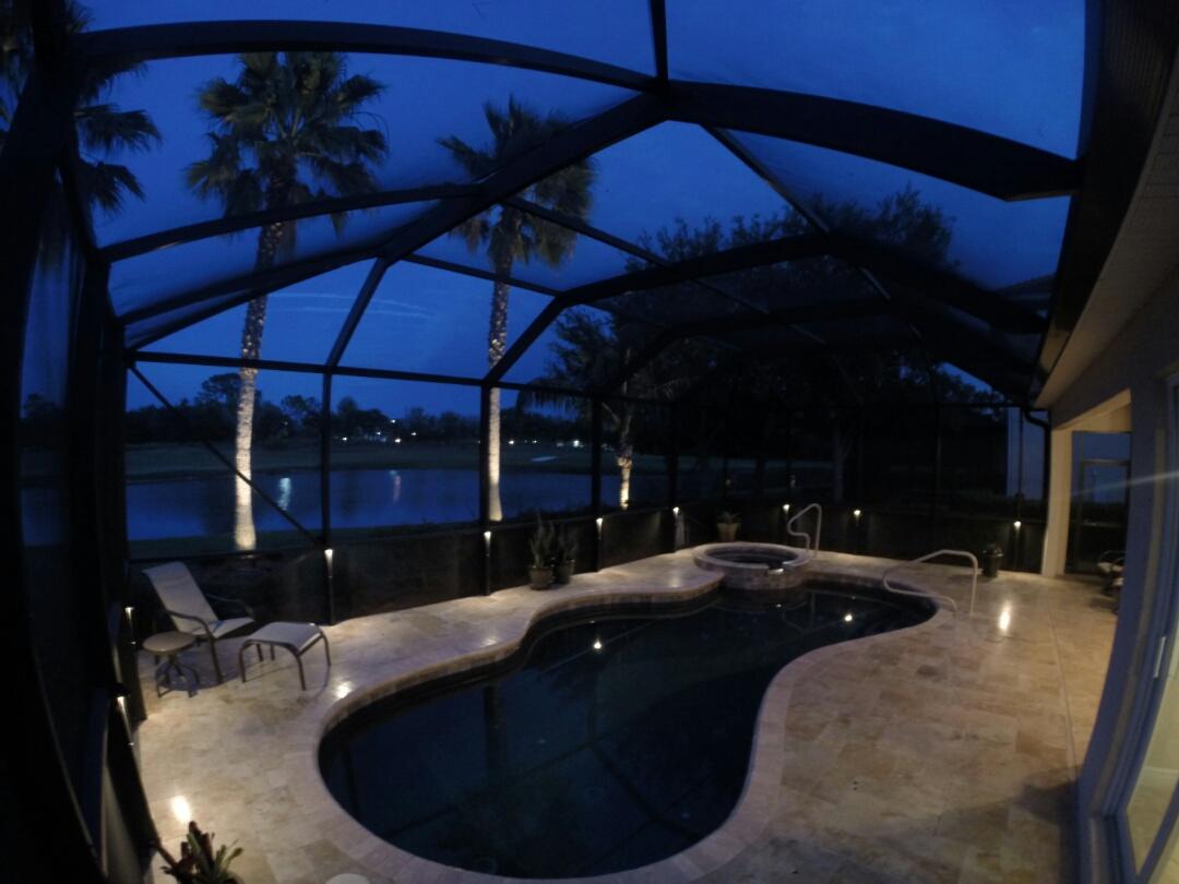 North Port, FL - Installed led pool cage landscape lighting.
