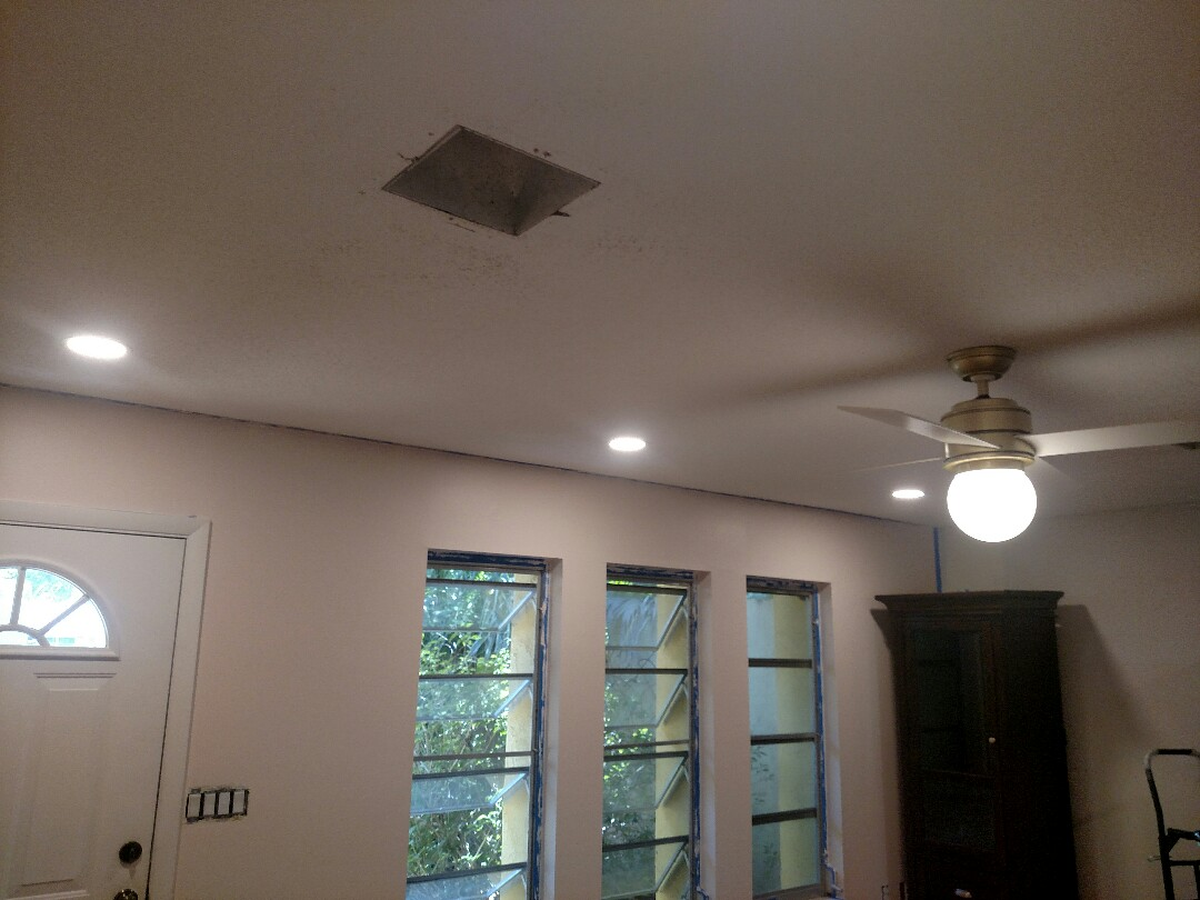 Sarasota, FL - Today in Sarasota we installed 4 LED recess cans, 5 ceiling fans and a chandelier