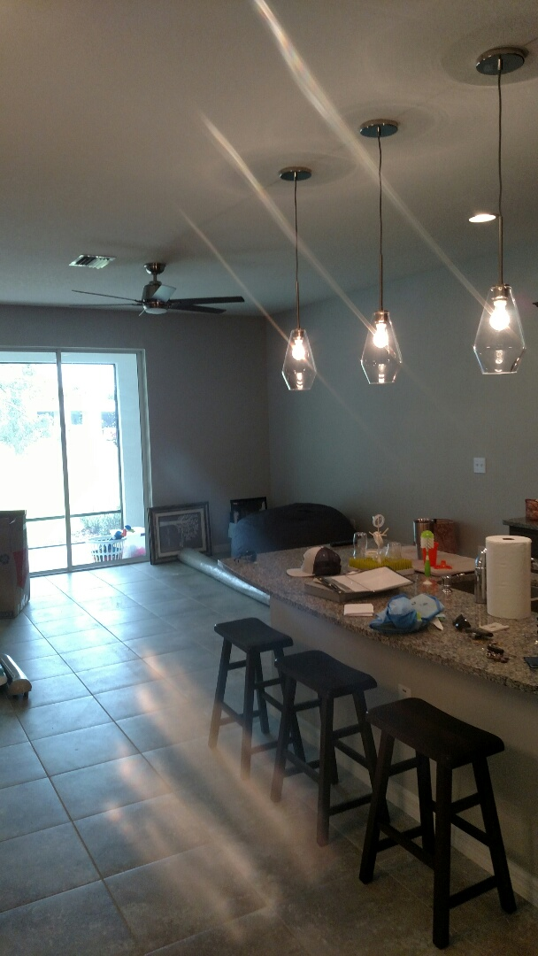 Sarasota, FL - Today we installed 3 pendant fixtures and four fans with dimmers.  Electricians near me