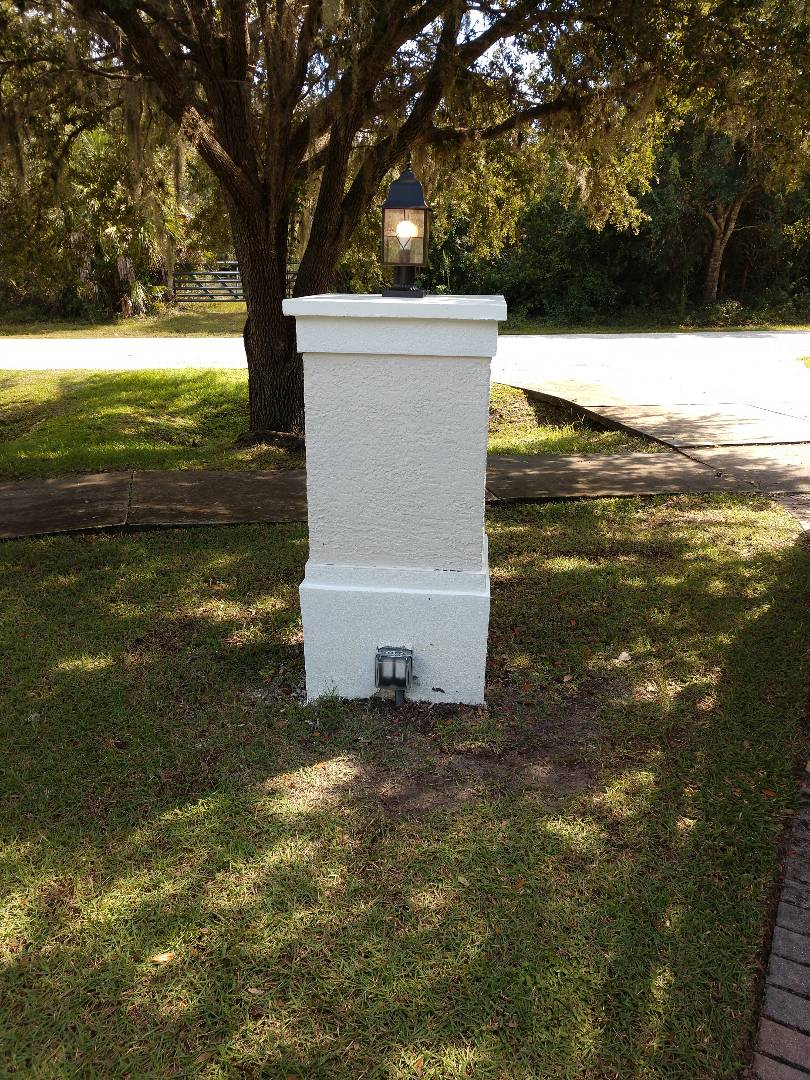 Nokomis, FL - Installed new column lights with GFI outlet on the back of columns.   Electricians near me