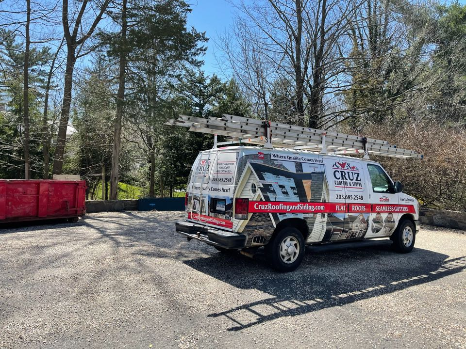 Greenwich, CT - Copper gutter install with new copper downspouts. Free estimates.