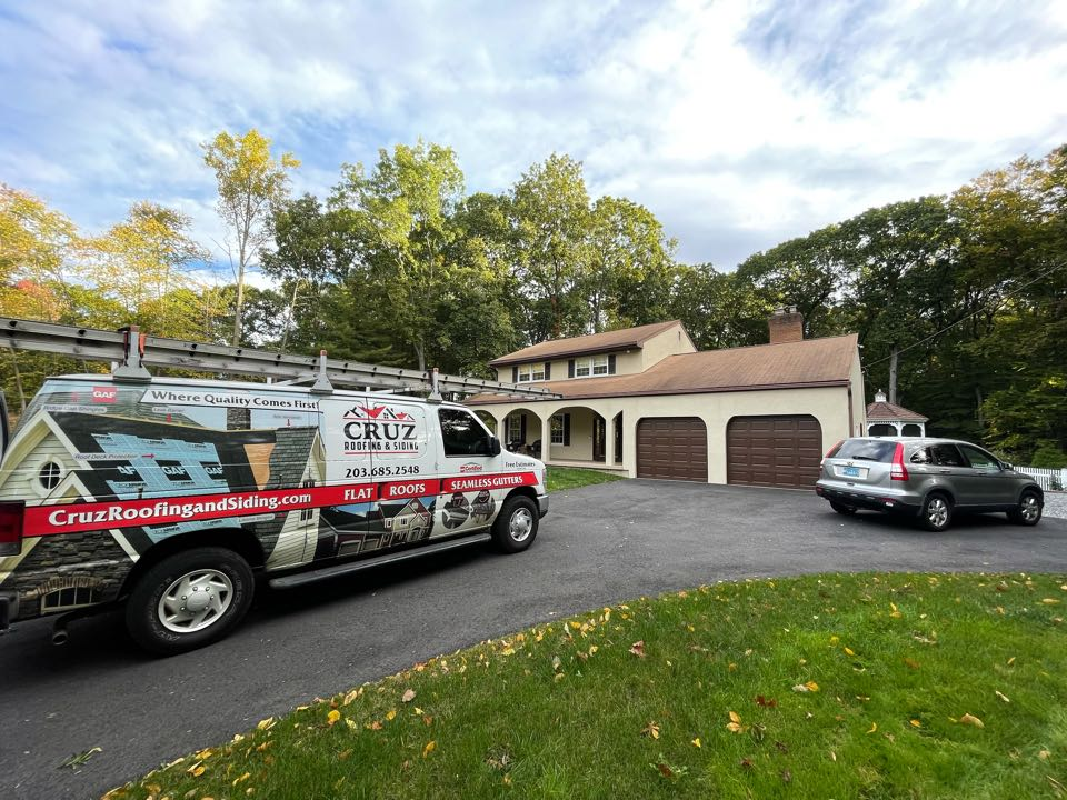 """Milford, CT - Roof replacement and 6"""" Seamless gutter k style In color Muska brown, we will also be installing at least blaster pro gutter guard in stainless steel."""