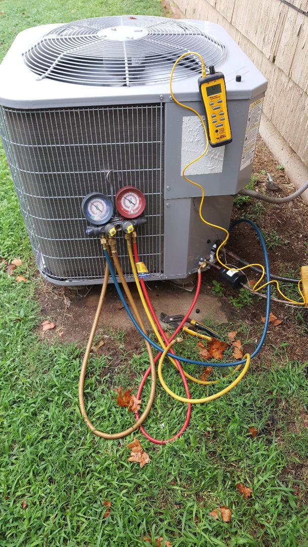 Midwest City, OK - Making repairs on a freeze-up service call.