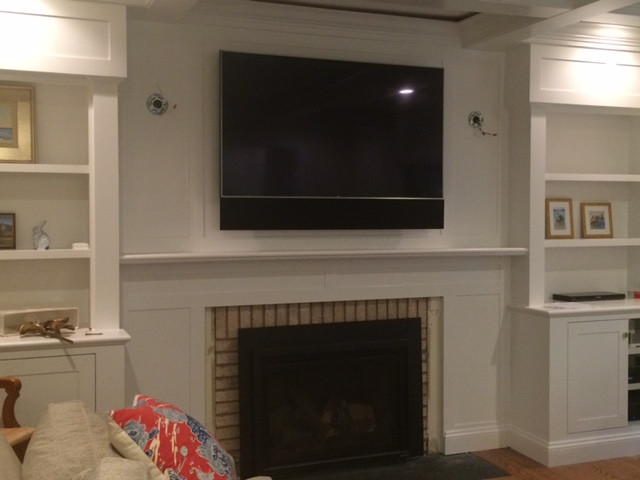 Fairfax Station, VA - Smart TV with Custom Tone Case cover over Sonos bar.
