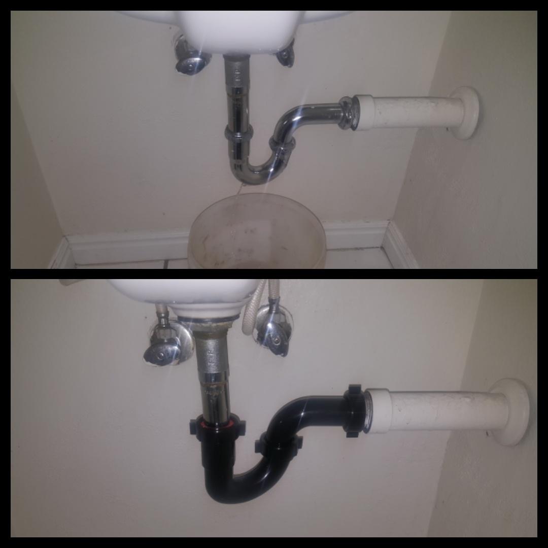 Replacing P Trap in bathroom sink drain.  Murray