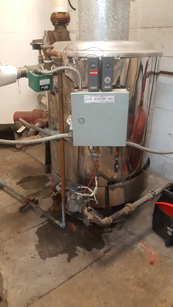 Reparing a hot water boiler in Salt Lake City.