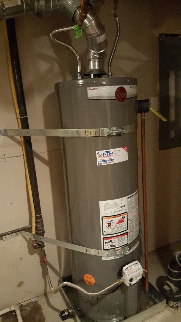 Replace 40 gall gas water heater up to code in South Jordan.