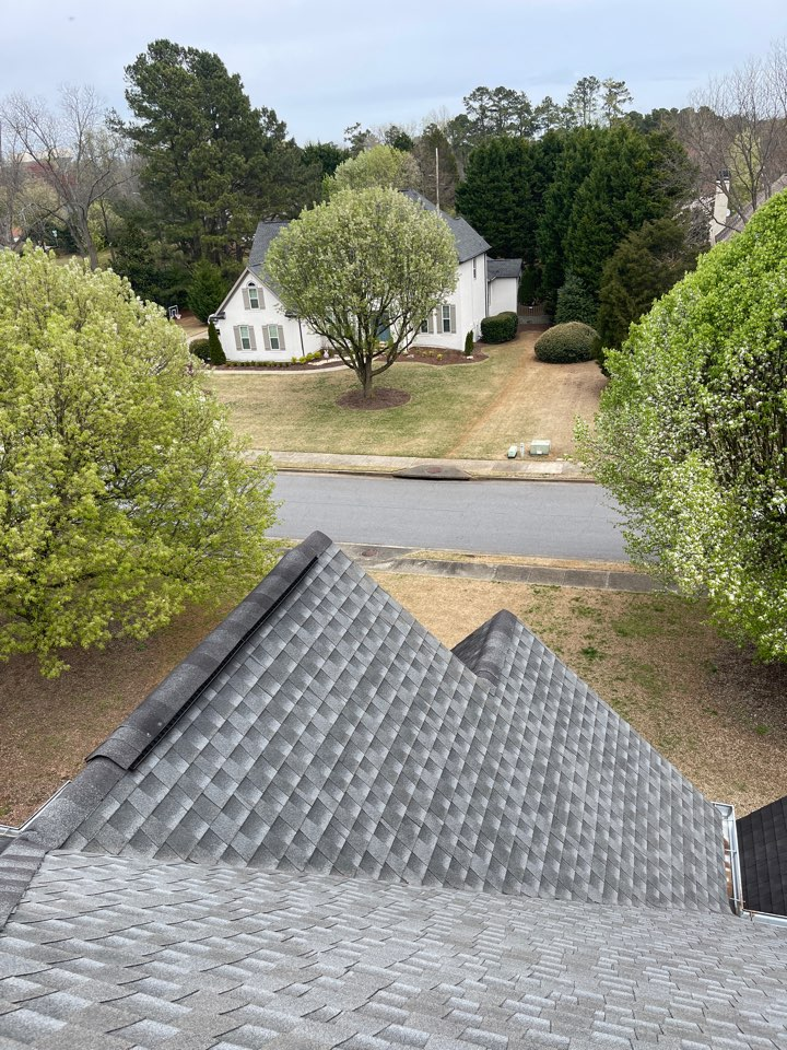 Roswell, GA - Inspection of a roof in Roswell for potential Hail Damage.