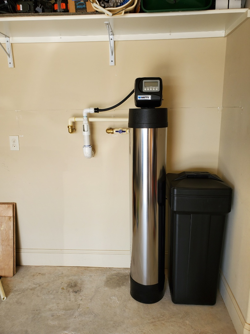 Cypress, TX - Today we are in the beautiful Bridgeland subdivision we've installed our chem-free Platinum Series dual media water softener / filter we have also replace the anode rods with new non-corrosive anode rods in the Rheem water heater