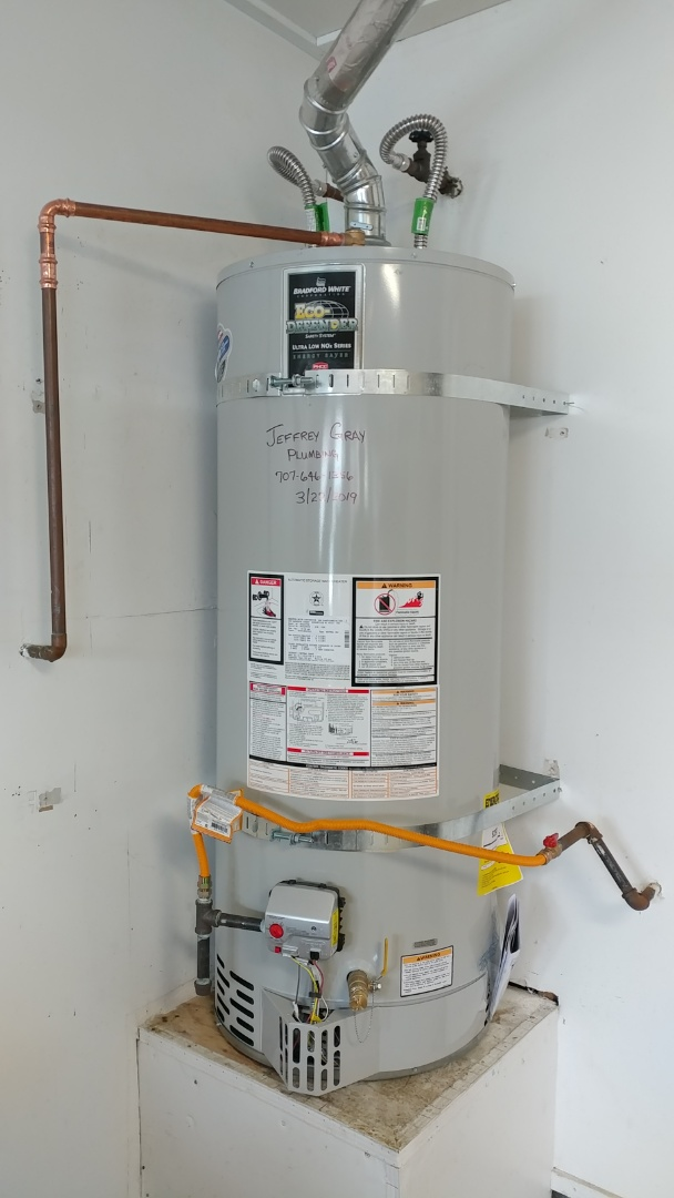 Suisun City, CA - Installed new 50 gallon low nox water heater. Plus it all. Fired normally. No leaks at this time.
