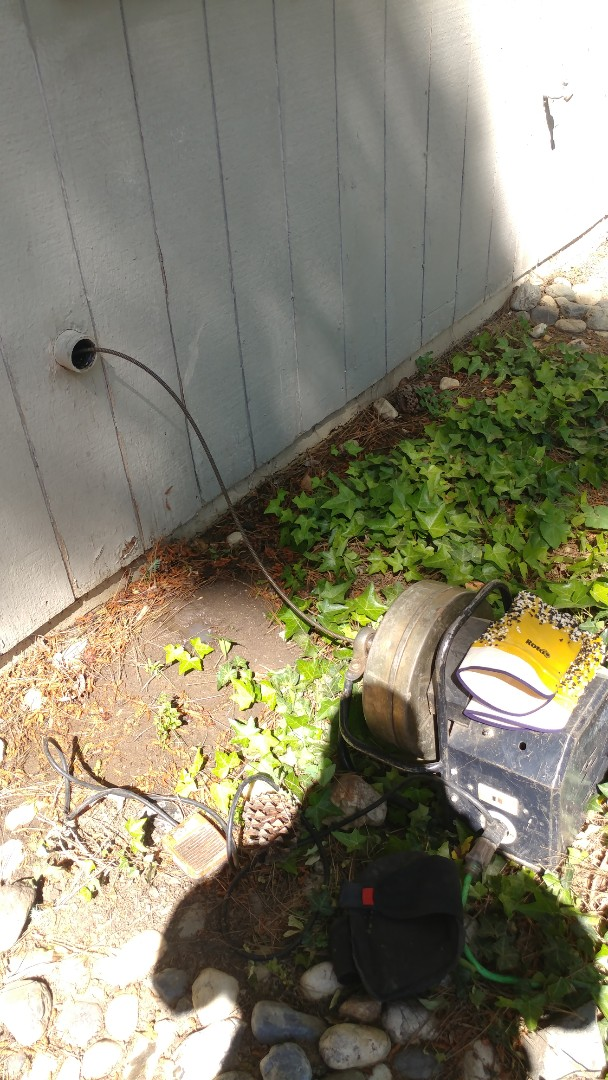 Fairfield, CA - Just finished unclogging a drain line by, snaking a clean out behind a kitchen wall.