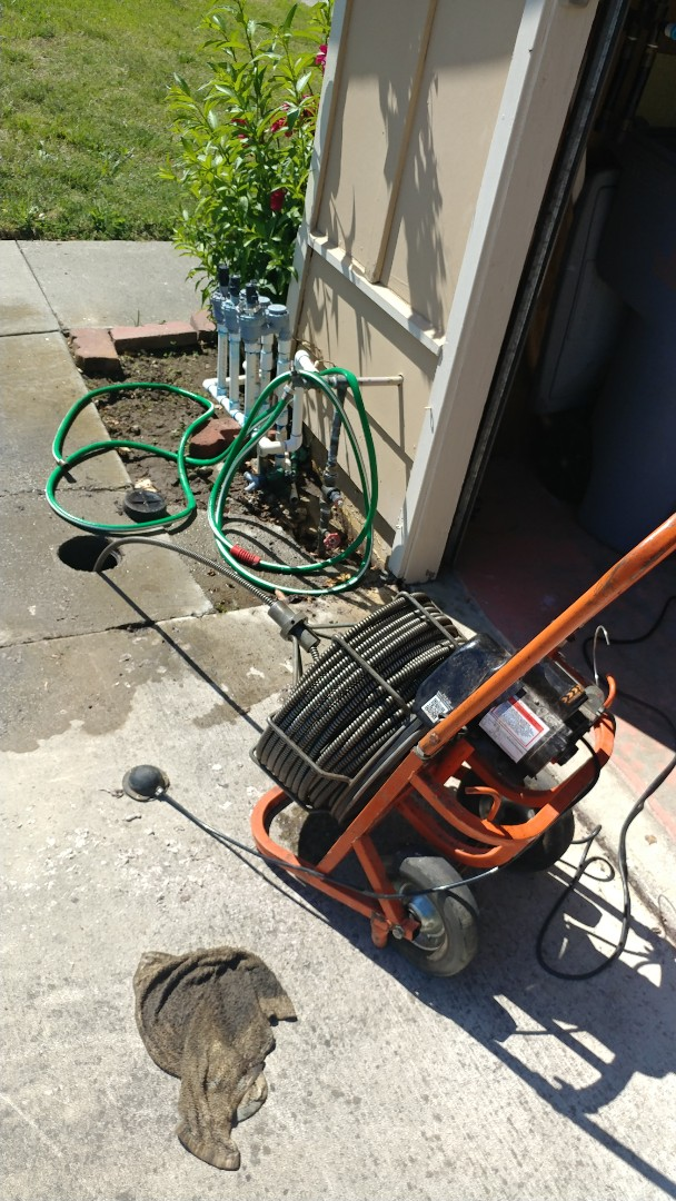 Vallejo, CA - Unclogged a main sewer line by using a large commercial snake through the main clean out.