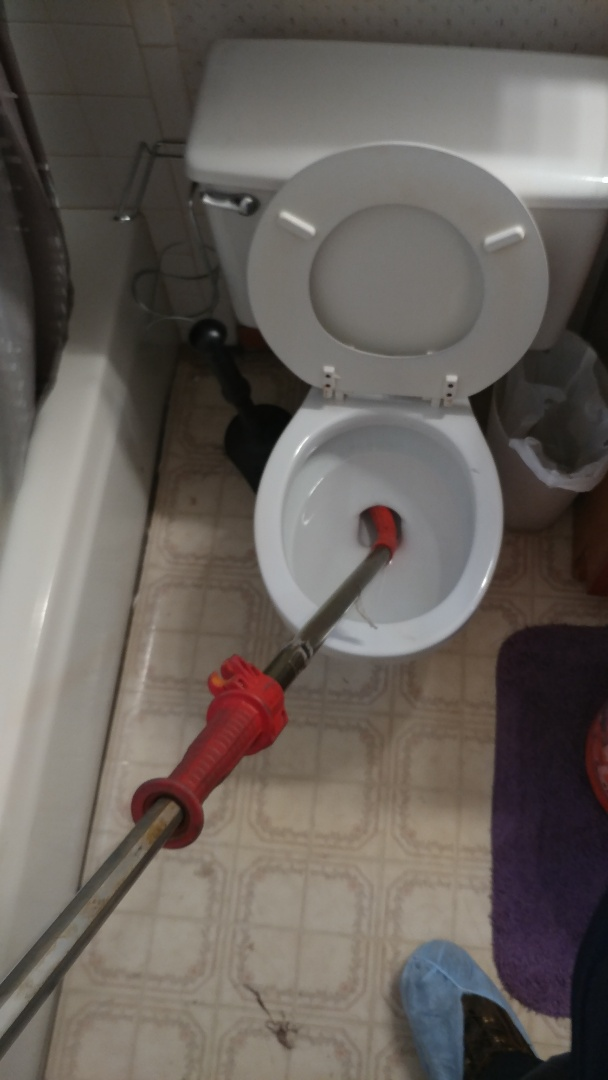 Just finished clearing a toilet with a professional toilet auger.