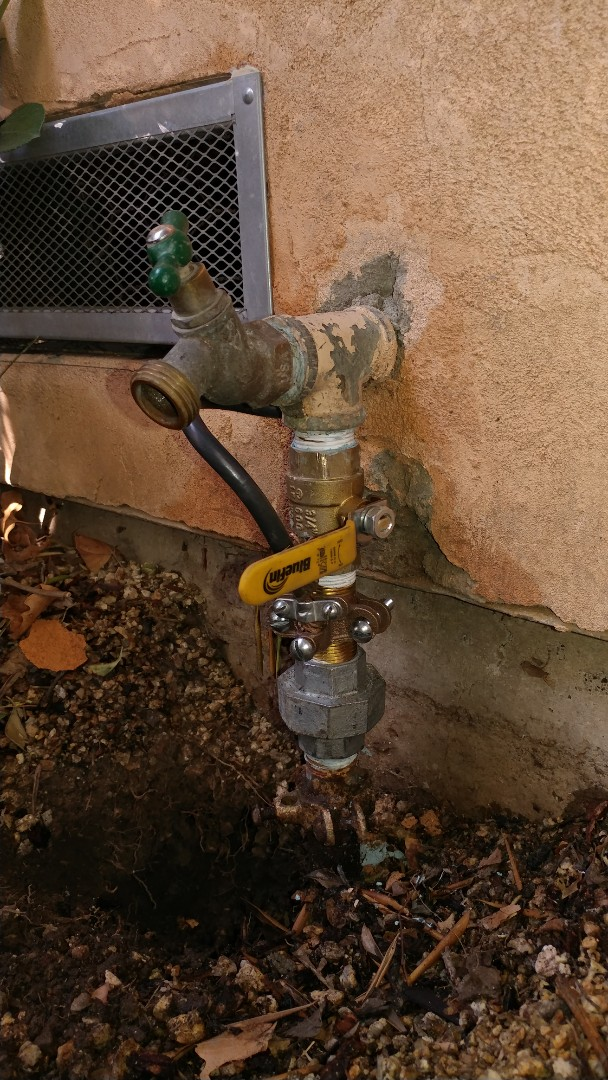 Installed new ball valve at the front of home