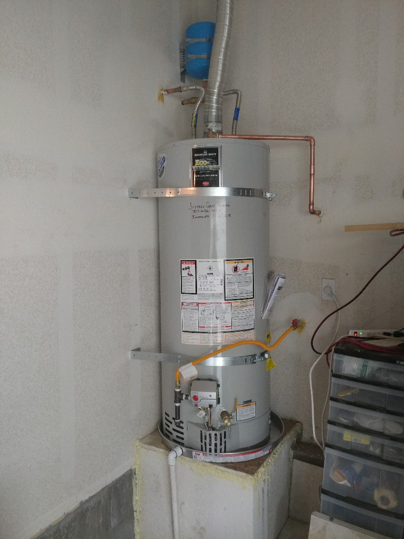 Fairfield, CA -  Installed new 50 gallon water heater with expansion tank, ball valve and drain pan.